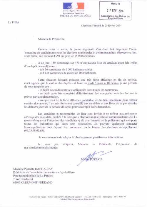 Courrier Préfet Dépôts candidtures municipales Mars 2014