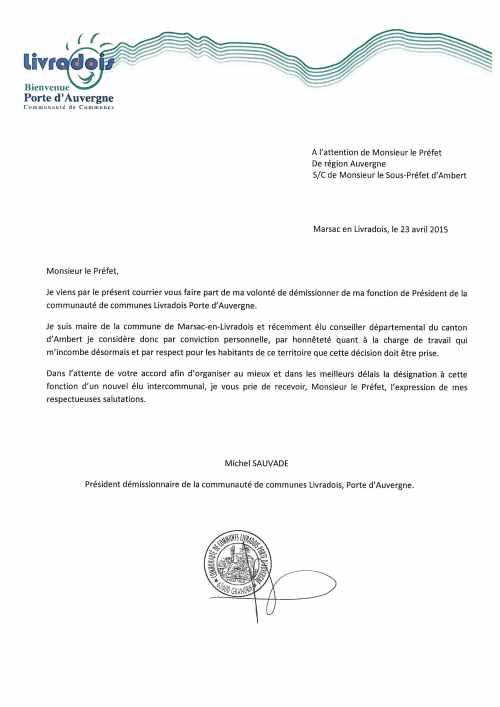 courrier démission président