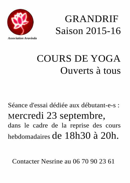 affiche yoga grandrif 2015-16