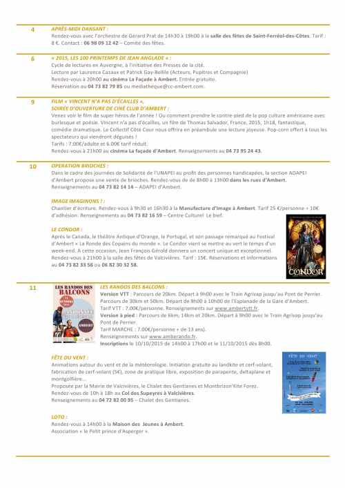 L'AGENDA D'OCTOBRE 2015 (3)