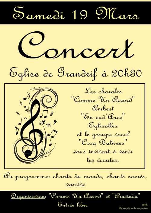 Concert 19 mars à Grandrif