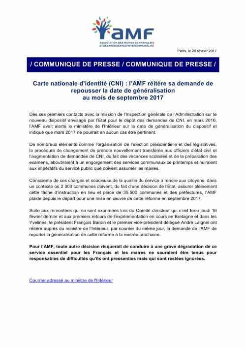 Carte nationale d'identité (CNI)_l'AMF réitère sa demande de repousser la date de généralisation à septembre 2017.jpg