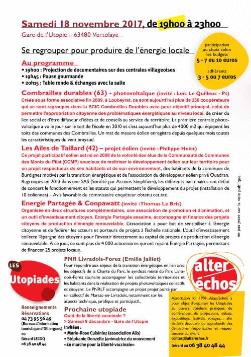 Flyer Utopiade n 57 - Produire de l'énergie en collectif (2)