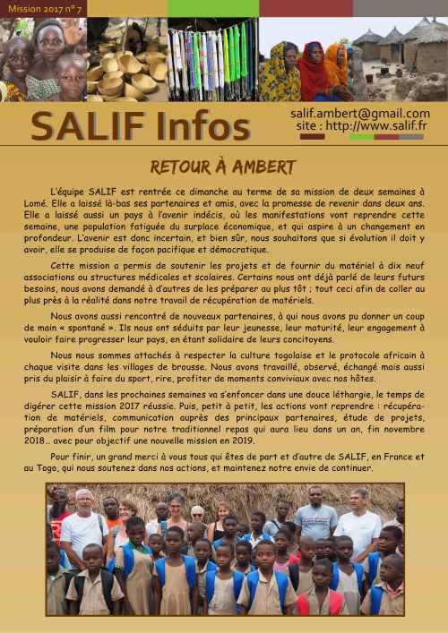 SALIF Infos N7 mission 2017