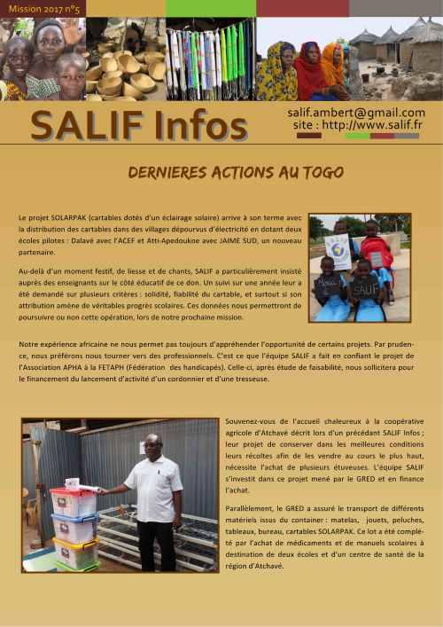 SALIF Infos N°5 mission 2017