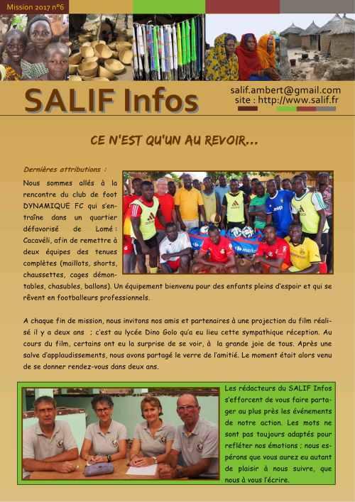SALIF Infos N°6 mission 2017